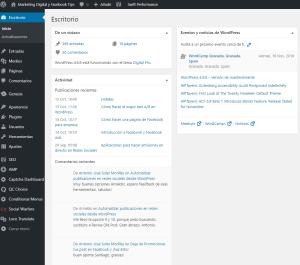 panel de control de WordPress