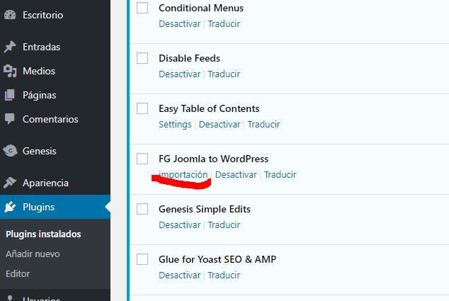 pulsa el botón importar joomla a wordpress