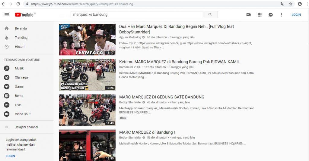 pencarian di youtube marquez bandung
