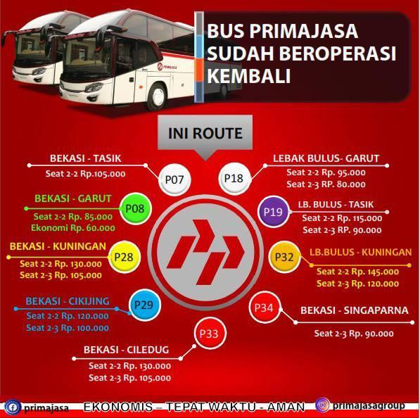 tarif dan rute bus primajasa
