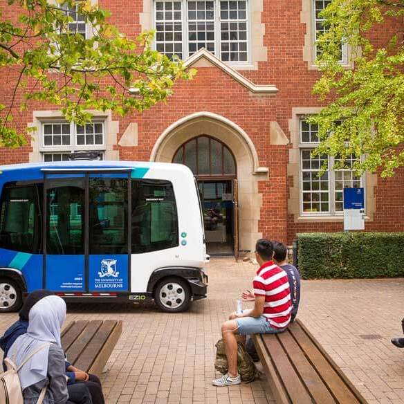 EasyMile EZ10 driverless shuttle, side view, University of Melbourne