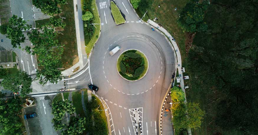 roundabout aerial view