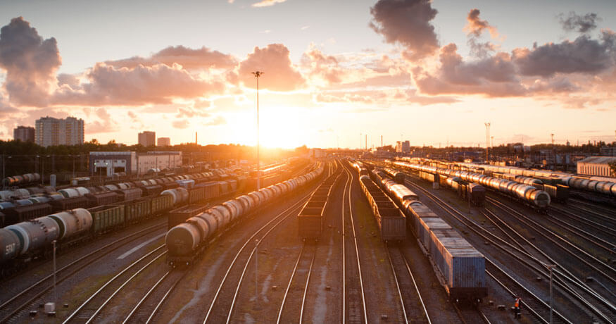 rail carriages sunset