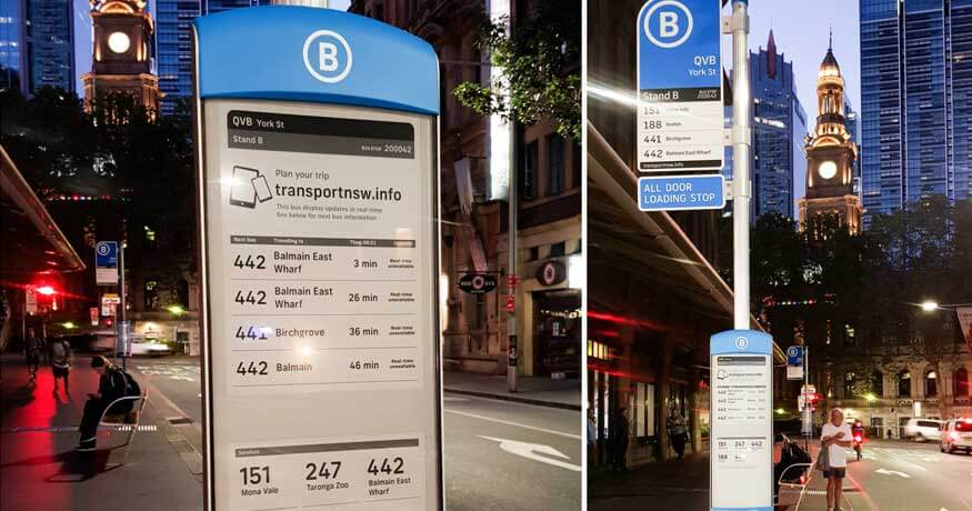 e-ink bus signs displaying real-time information to Sydney Buses passengers