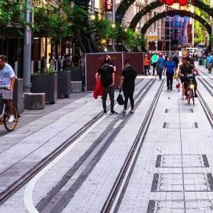 Sydney George Street tram lines pedestrians cycling