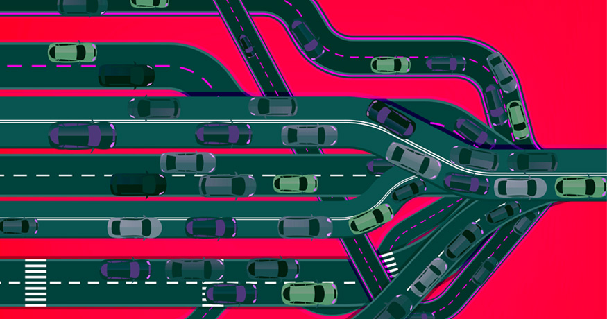 Traffic congestion many roads into one