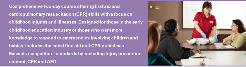 Comprehensive two-day course offering first aid and cardiopulmonary resuscitation (CPR) skill with a focus on childhood injuries and illnesses.  Designed for those in the early childhood education industry or those who want more knowledge to respond to emergencies involving children and babies.  Includes the latest first aid and CPR guidelines.  Exceeds competitors' standards by including injury prevention content, CPR and AED.