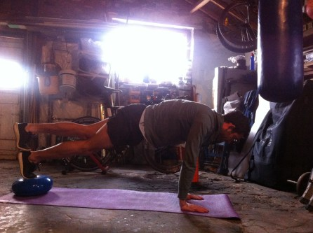 Stacked feet plank and press