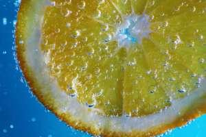 Slice of lemon in sparking water
