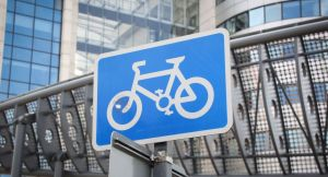 cycle lane sign in city