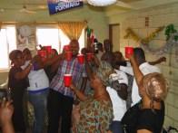 Staff of LGEA toasting Mr Owolabi to long life