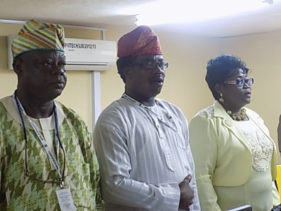 Dean School of Communication, Mr Alake with other senior staff during the Press Conference