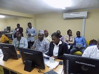 Cross section of the Polytechnic senior staff and members of the press