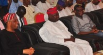 Lagos State Governor, Mr. Akinwunmi Ambode (middle), flanked by Secretary to the State Government, Mr. Tunji Bello and member, House of Representatives, Ikorodu Federal Constituency, Hon. Babajimi Benson during the Y2016 First Quarter Town Hall meeting, at the Ikorodu Town Hall, Ikorodu, Lagos, on Thursday, April 14, 2016. PIX 0978: Lagos State Governor, Mr. Akinwunmi Ambode (right), addressing dignitaries, party chieftains, traditional rulers, residents during the Y2016 First Quarter Town Hall meeting, at the Ikorodu Town Hall, Ikorodu, Lagos