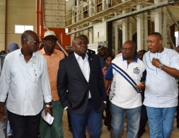 Lagos State Governor, Mr. Akinwunmi Ambode, with Special Adviser on Commerce, Hon. Adeyemi Olabinjo; Commissioner for Agriculture, Hon. Toyin Suarau; Commissioner for Transportation, Dr. Dayo Mobereola and Commissioner for Works & Infrastructure, Engr. Ganiyu Johnson during the Governor's inspection of the Eko Rice Mill at the Agric Park, Imota, Ikorodu, Lagos, on Tuesday, April 12, 2016. ??????????