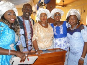 High Chief Onasanya with wife and children, Tura, Shadia and Ruka during the service