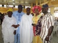 L-R, Alhaji Folorunsho, Mr Erogbogbo, Commissioner Ogunleye, Princess Olabanji-Oba and Hon. Azeez Jimoh Olosugbo at the ceremony