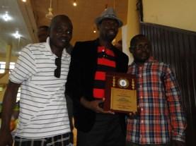 Publisher, THE IMPACT, Kunle Adelabu and Comrade Taiwo Odumbo (R) celebrating with Otunba Dare odufowokan
