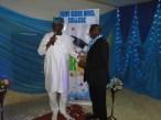 Alhaji Lemmy Anibaba, the Principal, Lagos State model College, Igbokuta receiving his award from Sen. Ogunlewe