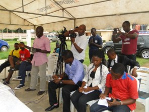 Cross section of the reporters during the briefing. Kemi Joseph of THE IMPACT (2nd R) taking note at the briefing