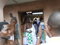 Odofin of Igbogbo leading other Osugbo chiefyains out of the Osugbo shrine