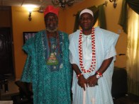 Oba Kasali with Chief (Dr) Omokayode Esuleke Idowu before the feast with the palace chiefs