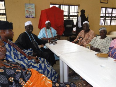 Oba Kasali *centre(, High Chief Adebola Sholanake, the Olisa (Prime Minister of Igbogbo Kingdom) sitting left, High Chief Tajudeen Alade Onasanya, the Odofin of Igbogbo and other chiefs at the feast