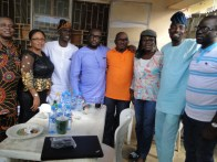 L-R, Dr Ogunlana, Mrs Ogunlana, Mr Oteju, Hon Benson, Hon. Agunbiade, Yeye Agunbiade and Otunba Odufowokan at Hon. Agunbiade father's house for the celebration