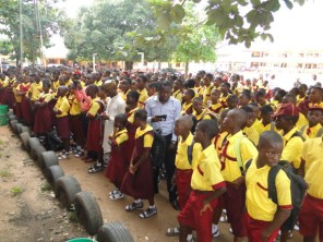 Students of Ikorodu Senior Grammar School on the Assembly ground during the presentation