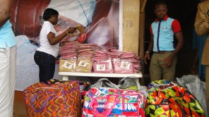 Bags of school uniforms distributed to the pupils by Hon. Agunbiade