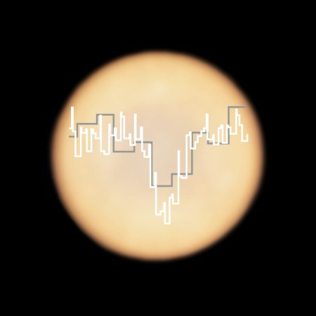 Absorption spectra indiciating presence of phosphine overlaid on an image of Venus