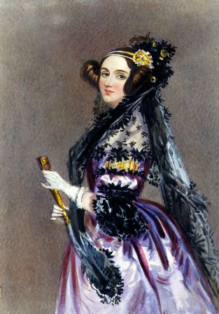 Watercolour of Ada Lovelace. Ada is looking to the front, in evening dress with mantilla, holding fan