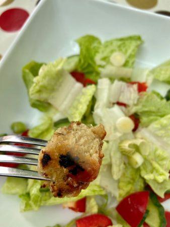 A vegan chicken nugget on a fork