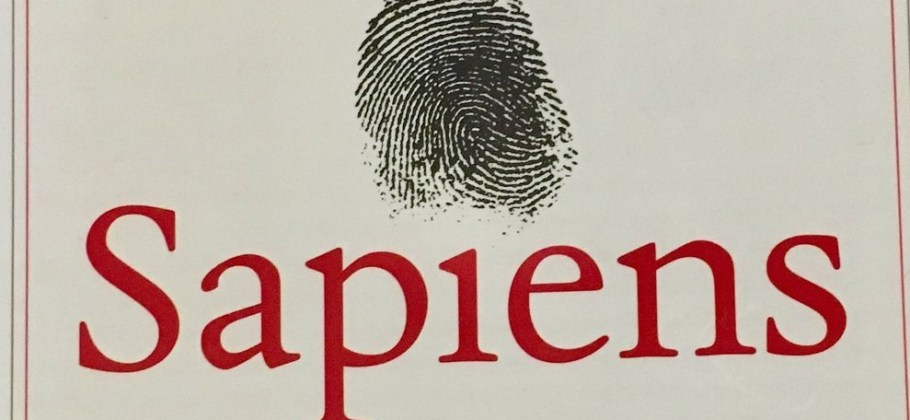Photo of the cover of the book Sapiens: A Brief History of Humankind