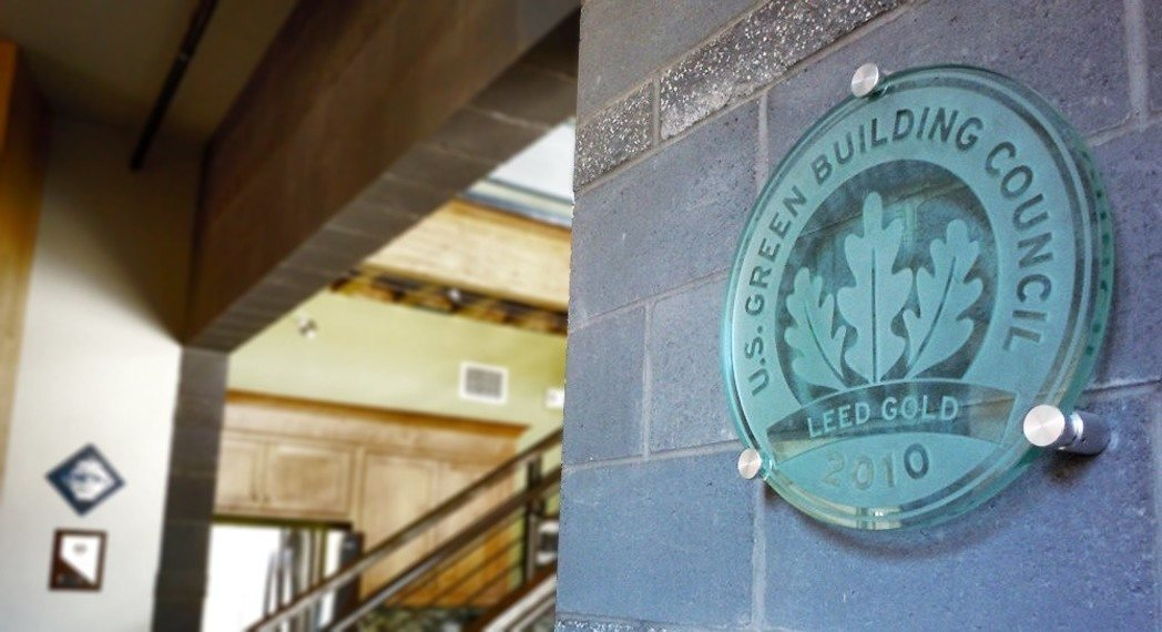 LEED Plaques Etched Glass Stainless Steel Bronze