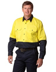 Impact Teamwear - Long Sleeve Cotton Drill Safety Shirt