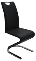 Fekete fémvázas kárpitozott szék