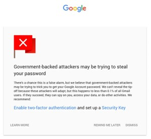 Google Gmail new warning