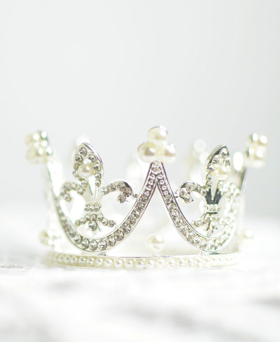 white diamond crown on white table
