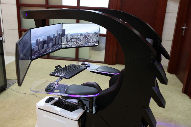 gaming chair with monitors eames repair los angeles imperatorworks - iw-j20 zero gravity reclining workstation game