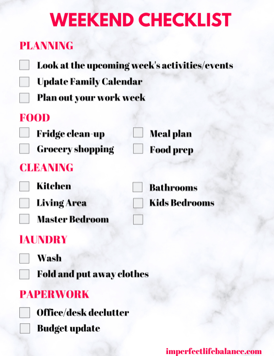 FREE Weekend Checklist page 2