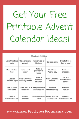 Get your free printable advent calendar ideas
