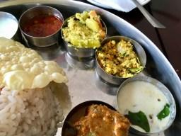 Bade Miya Thali - Pickle, Aviyal, Thoran, Pachadi, Chicken Curry