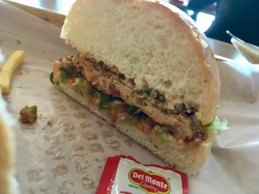 Mexican Chicken Burger - cross section