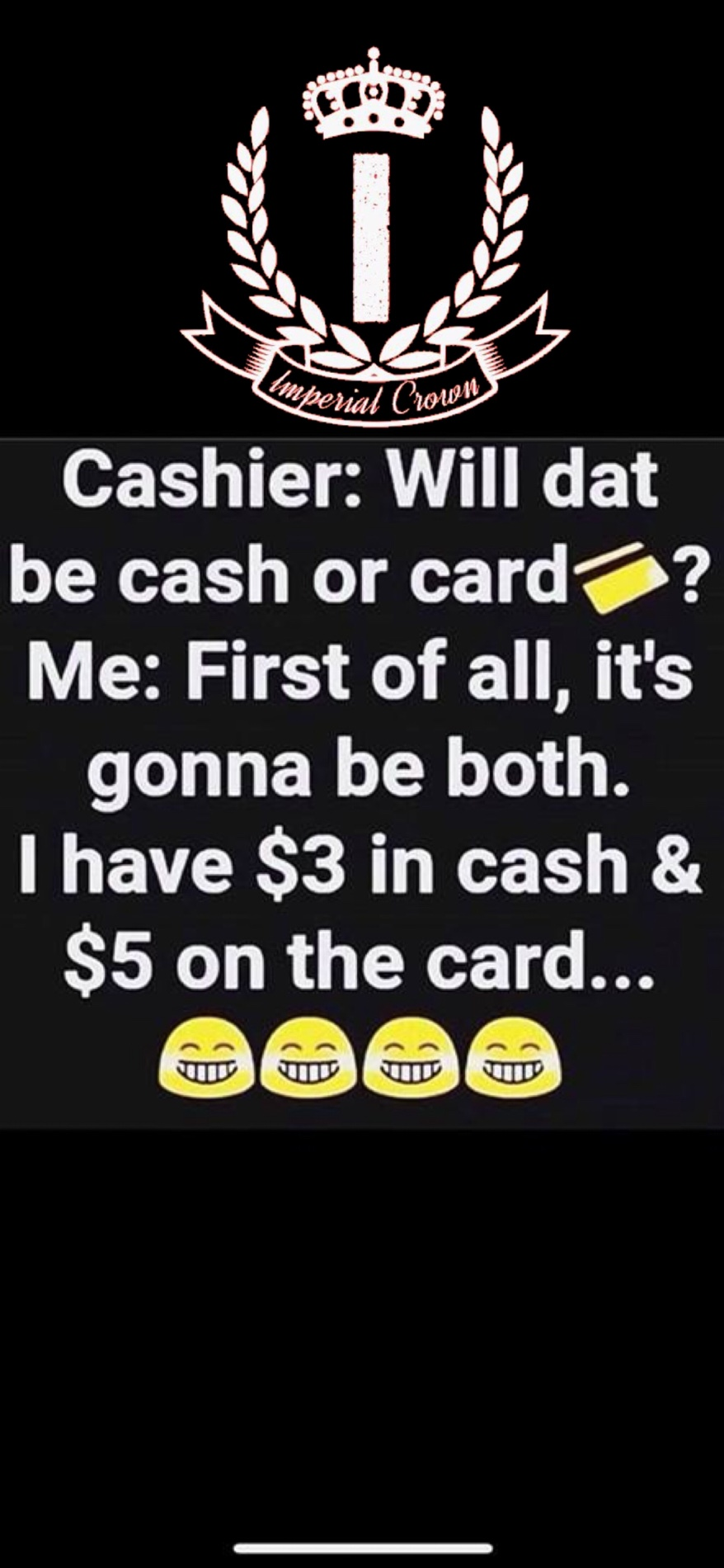 will dat be cash or card