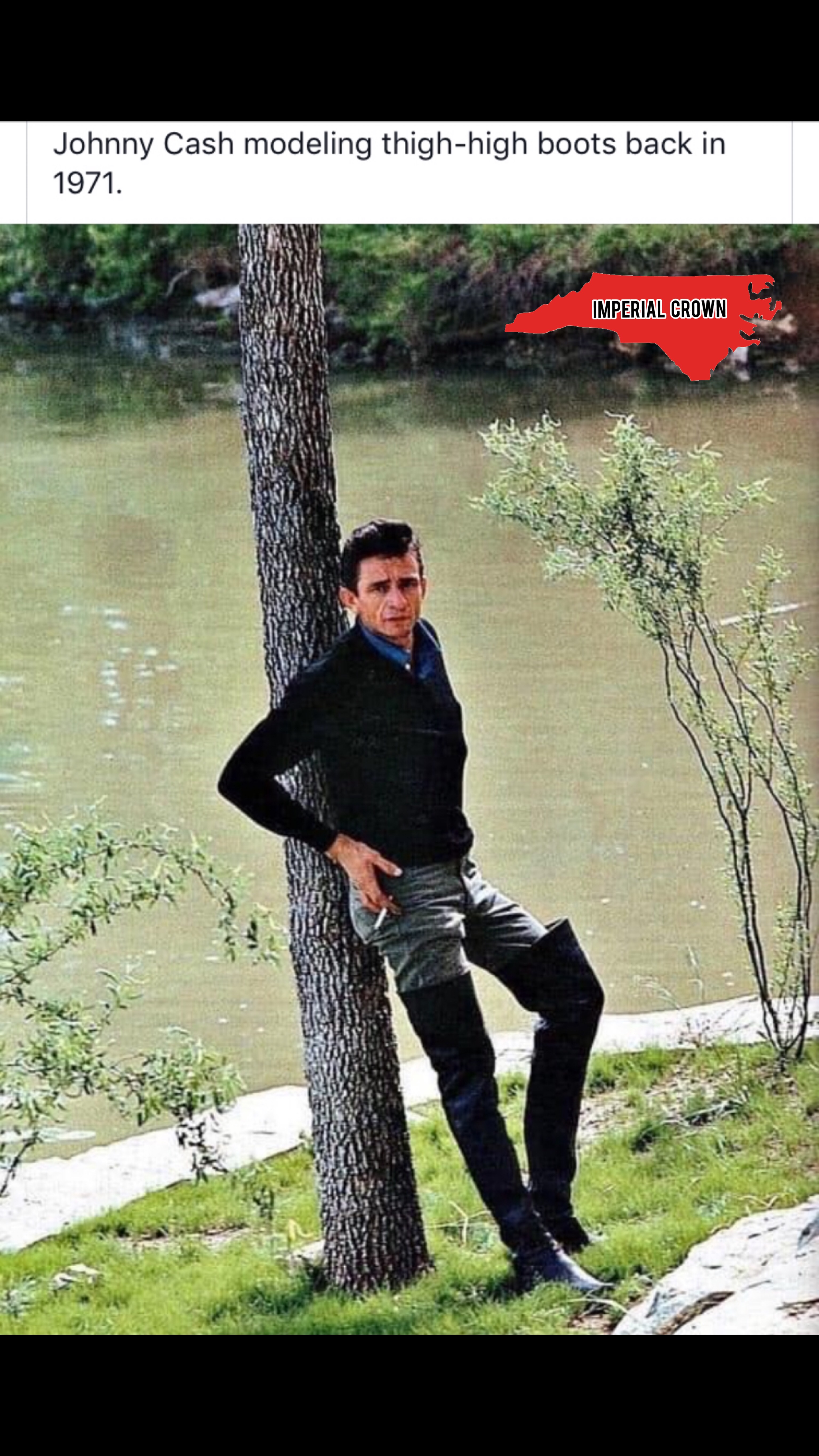 Johnny Cash modeling thigh-high boots back in 1971…..
