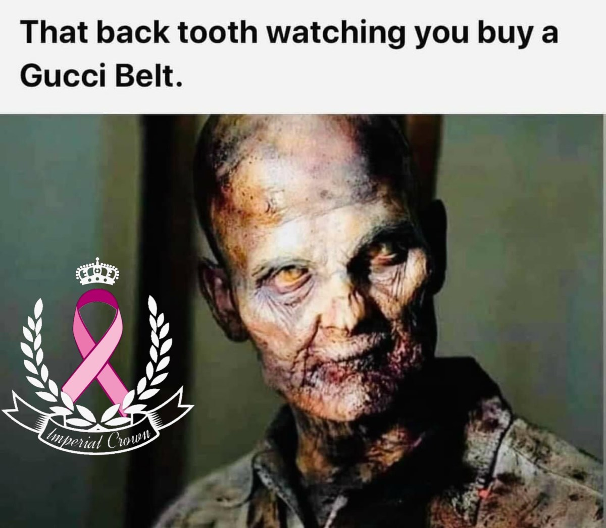 That back tooth watching you buy a Gucci belt