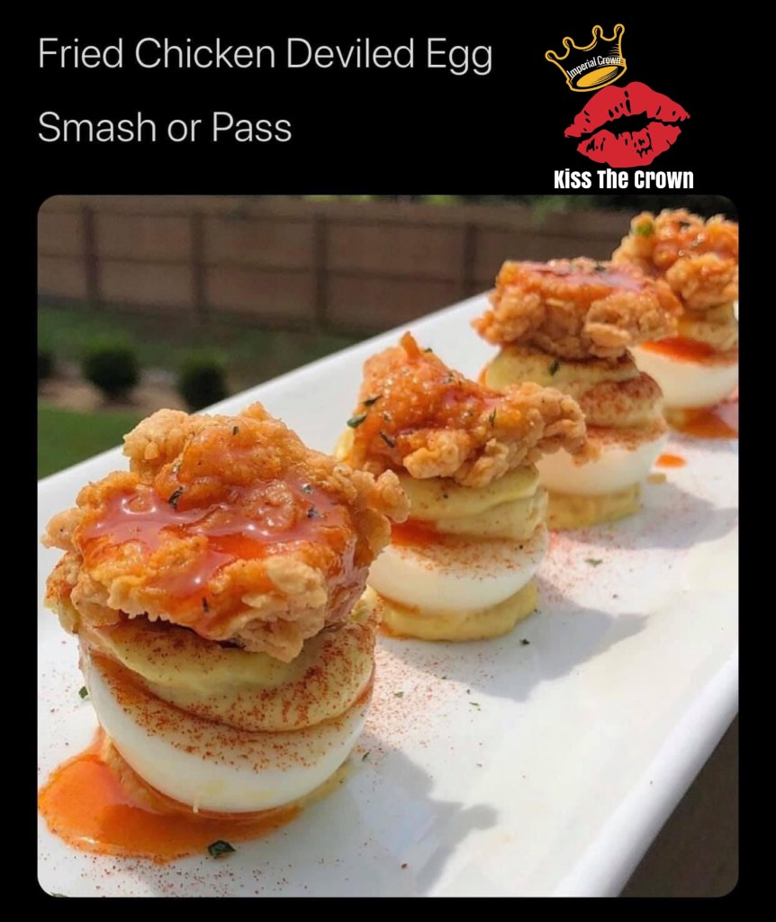 Fried chicken deviled egg smash or pass