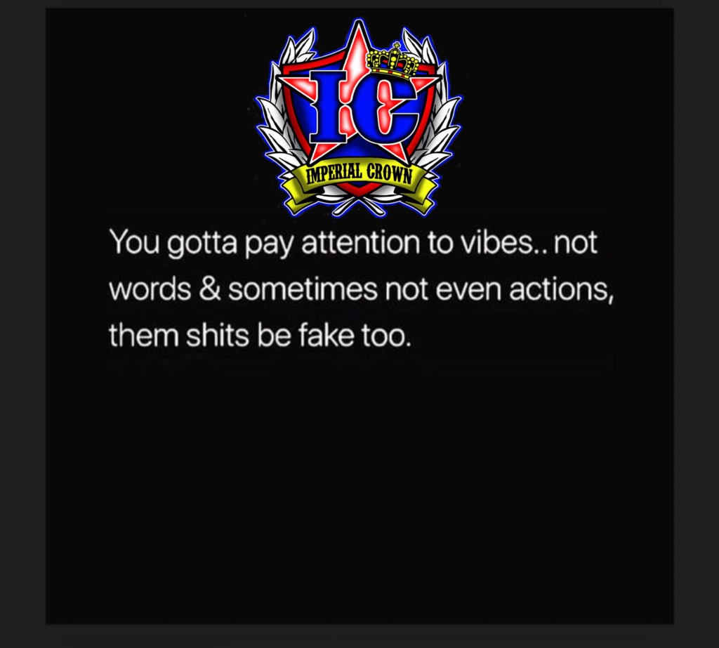 You got a pay attention to Vibes not words and sometimes not even actions them shit be fake too