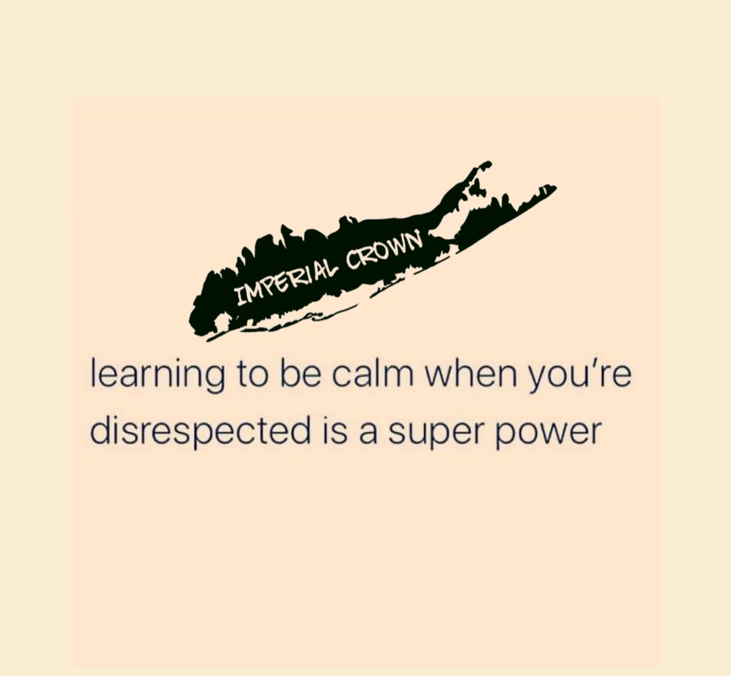 Learning to be calm when you're disrespected is a super power